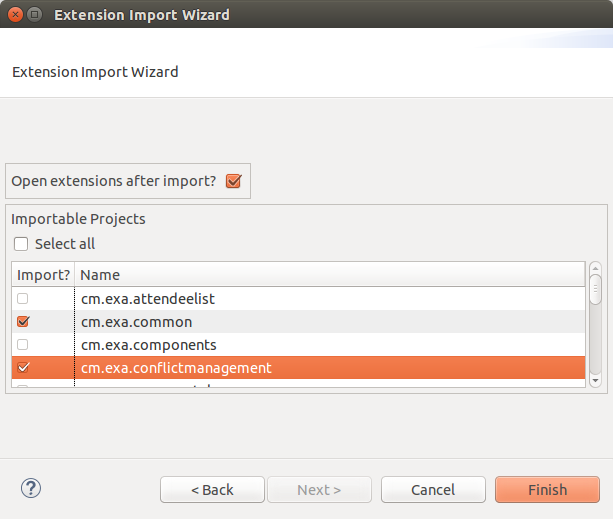 Screenshot of import wizard showing a list of HISinOne extensions for import